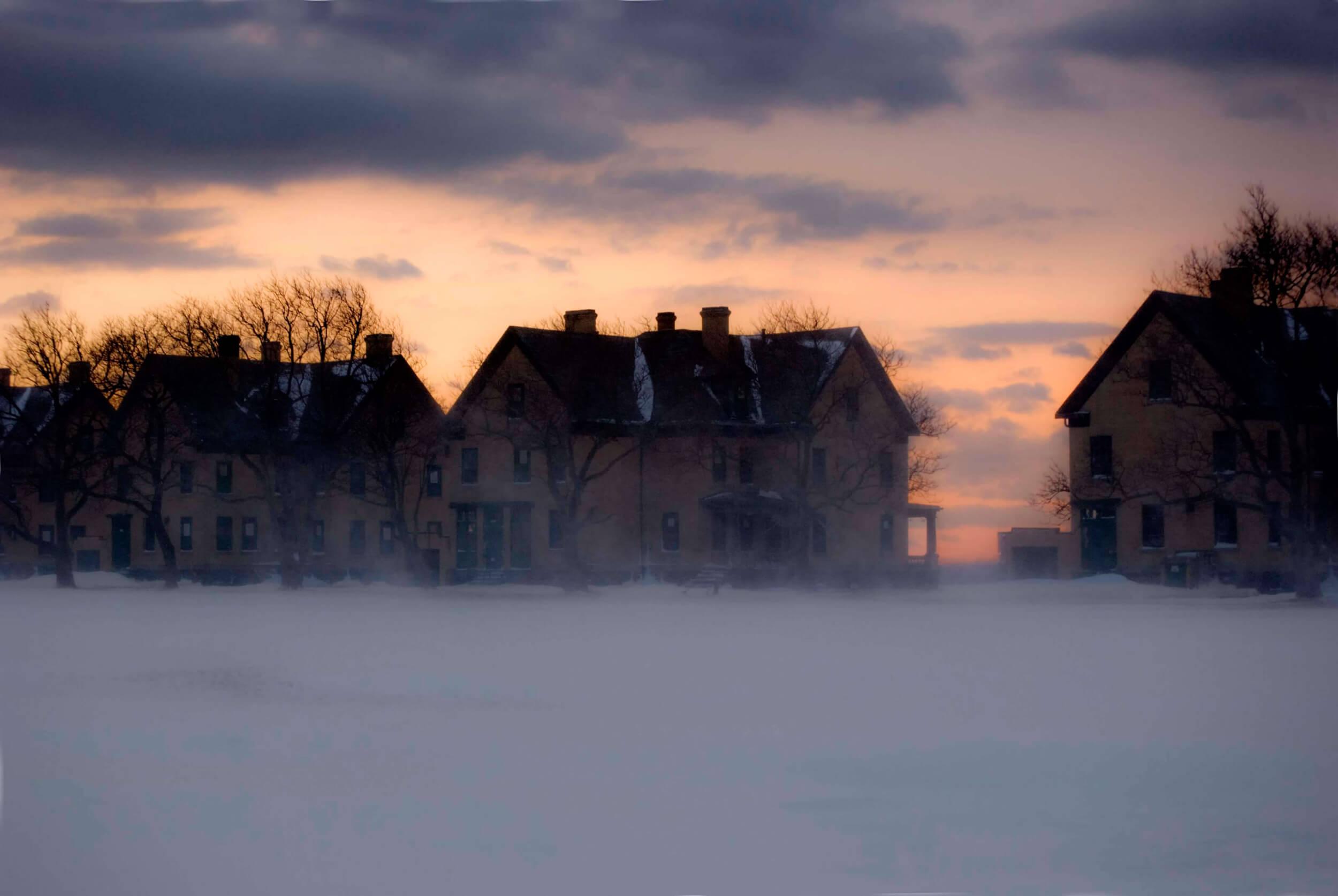 Winter Sunset, Swirling Snow